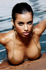 Busty latin babe Lupe Fuentes shows her nice tits in the pool